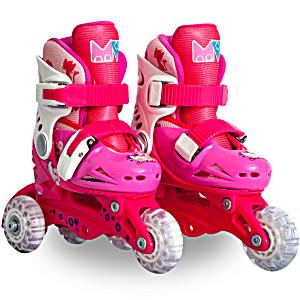Детские ролики маленькие размеры для обучения катанию (трансформеры трехколесные) MagicWheels розовые